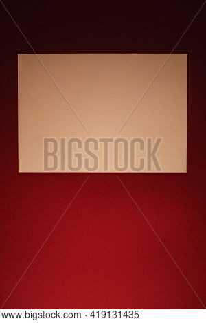 Blank A4 Paper, Beige On Dark Red Background As Office Stationery Flatlay, Luxury Branding Flat Lay