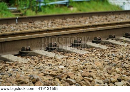 Electrical Outlets, Rails, Sleepers. Railway Station.empty Railway.