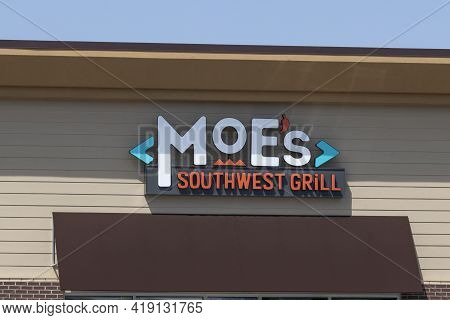 Carmel - Circa May 2021: Moe's Southwest Grill Fast Casual Restaurant. There Are More Than 600 Moe's