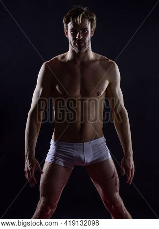 Safe Sex Basics. Sexual Health And Libido. Desire And Erotic Games. Naked Muscular Man. Sexy And Sen