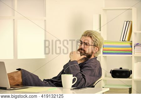 Sharing Business News. Checking My Mailbox. Relaxed Man Hipster Browsing Through Internet During Fre