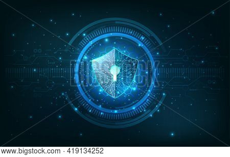 Safety Concept. Shield On Digital Background.data Security Illustration, Cyber Security Or Internet