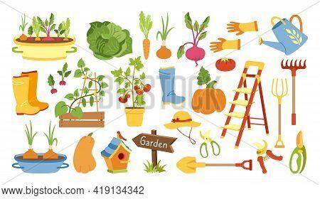 Garden Tools Flat Cartoon Set. Rural Vegetable, Rustic Fence. Rubber Boots, Pitchfork And Gloves, Se