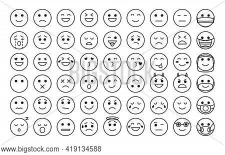 Black Outline Funny Emoji Icons Set. Mood Or Facial Emotion Symbol For Chat App Or Web. Linear Face
