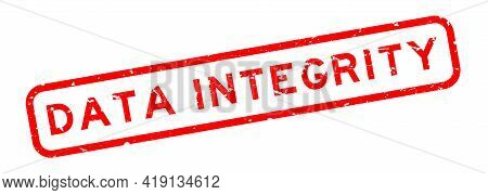 Grunge Red Data Integrity Word Square Rubber Seal Stamp On White Background