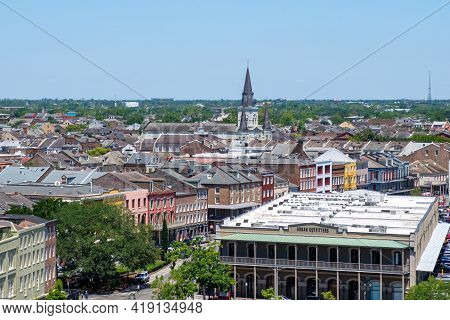 New Orleans, La - April 20: Aerial View Of French Quarter From One Canal Place On April 20, 2021 In