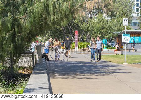 Surfer's Paradise Australia - April 24 2015; Gold Coast Street Scene With People And Their Dogs Out