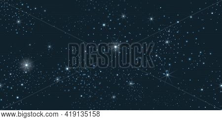 Night Sky Seamless Pattern. Dark Blue Galaxy Stars Background, Star Constellations Space Backdrop, S