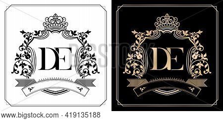De Royal Emblem With Crown, Set Of Black And White Labels, Initial Letter And Graphic Name Frames Bo