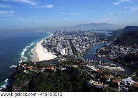 Aerial View Of Barra Da Tijuca Rio De Janeiro Mountain Beach