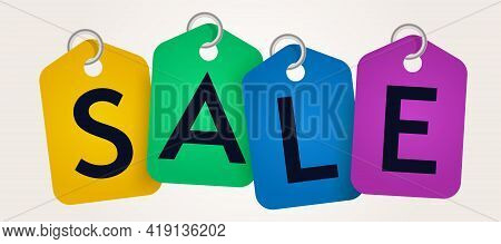 Sale Banner Template Advertising Retail Discount. Colorful Sale Tag Design For Ecommerce Business Pr