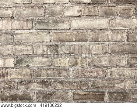 Distressed Old Vintage Block Brick Wall With Grunge And Dirt Fortress Castle Building Structure