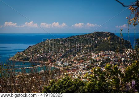 View From The Hill In Alanya, Turkey. Alanya Cityscape. Turkish Resort. View From Top Of The Alanya
