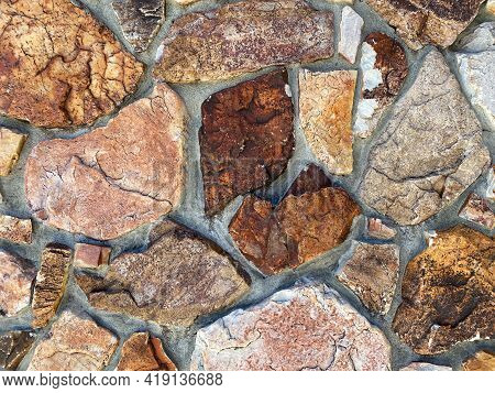 Closeup View Of Stone Fortress Castle Or Garden Building Wall