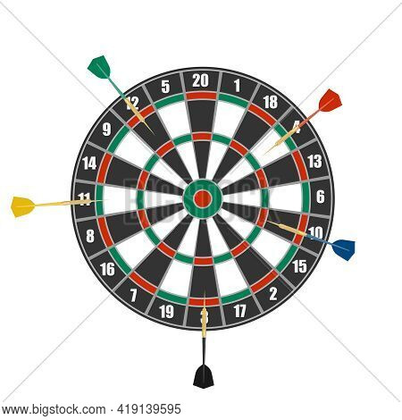 Darts, Circle For Playing Darts Isolated On White Background. Vector Illustration. Vector.