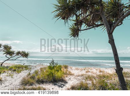 Tropical Scene Sand Dunes And Surfers Paradise Beach View