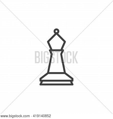 Bishop Chess Line Icon. Linear Style Sign For Mobile Concept And Web Design. Chess Piece Outline Vec