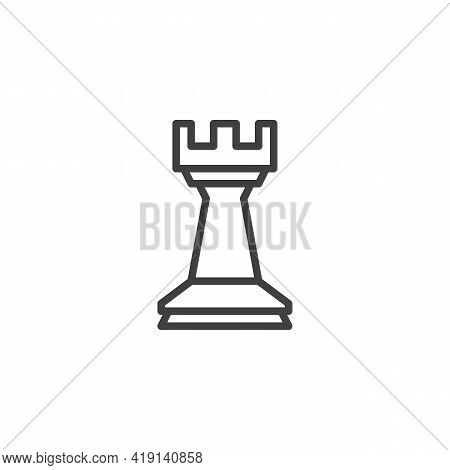 Chess Rook Line Icon. Linear Style Sign For Mobile Concept And Web Design. Chess Piece Outline Vecto