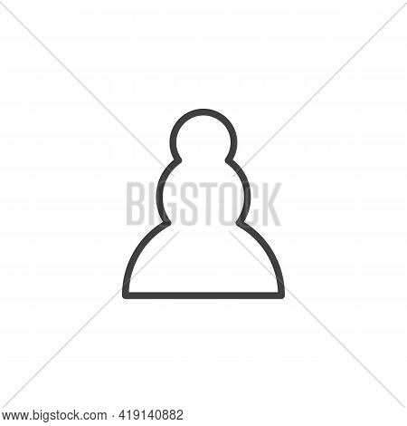 Pawn Chess Piece Line Icon. Linear Style Sign For Mobile Concept And Web Design. Pawn Figure Outline