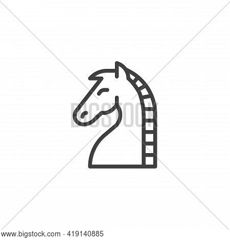 Horse Chess Line Icon. Linear Style Sign For Mobile Concept And Web Design. Chess Knight Outline Vec