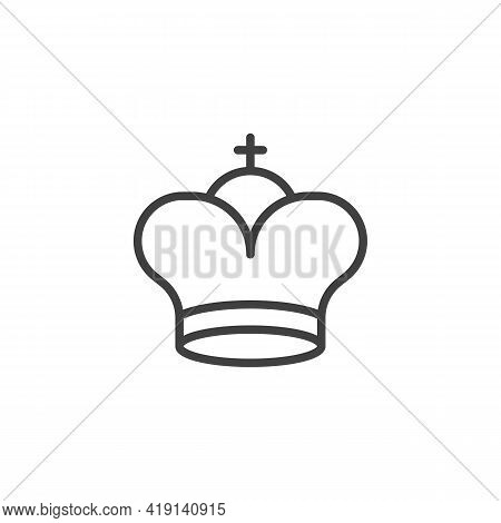 King Chess Line Icon. Linear Style Sign For Mobile Concept And Web Design. King Crown Outline Vector