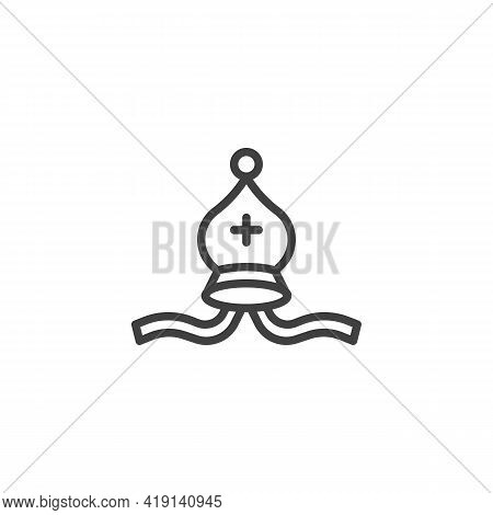 Bishop Chess Line Icon. Linear Style Sign For Mobile Concept And Web Design. Elephant Chess Outline
