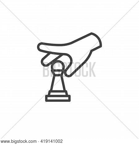 Hand Move The Pawn Chess Line Icon. Linear Style Sign For Mobile Concept And Web Design. Hand Holdin