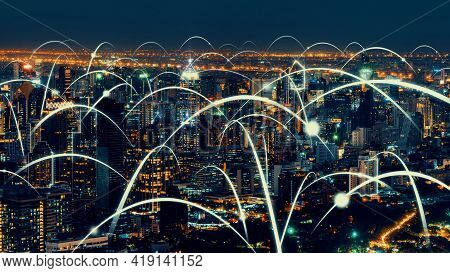 Smart Digital City With Globalization Abstract Graphic Showing Connection Network . Concept Of Futur