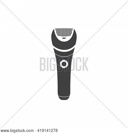 Black Minimalist Electric Shaver Or Trimmer Tool Vector Illustration Isolated.