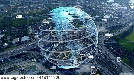 Global Connection And Traffic Modernization In Smart City . Concept Of Future 5g Wireless Digital Co