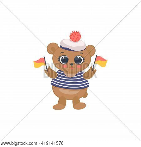 Funny Cartoon Character Animal Sailor Dressed In Striped Vest Hold Color Flags