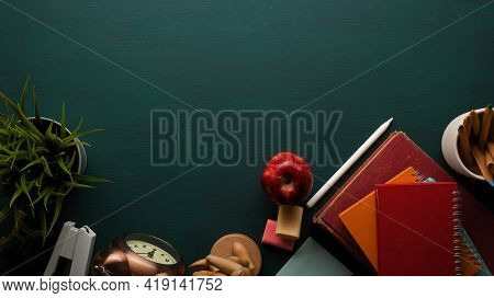 School Elements, Top View Of Study Table With Books, Stationery, Supplies, Decorations And Copy Spac