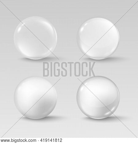 Glass Transparent Spheres Shiny Circle Beads And Precious Pearl With Soft Shadows