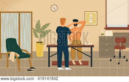 Osteopathy And Massage Therapy Concept Vector Illustration. Professional Male Masseur Helps Man With