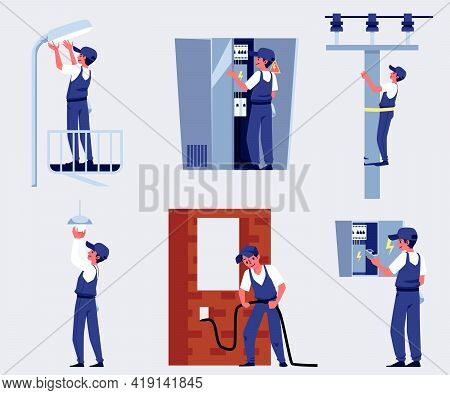 Power Lineman Or Electric Repairman Workers Characters Set, Flat Vector Illustration Isolated.