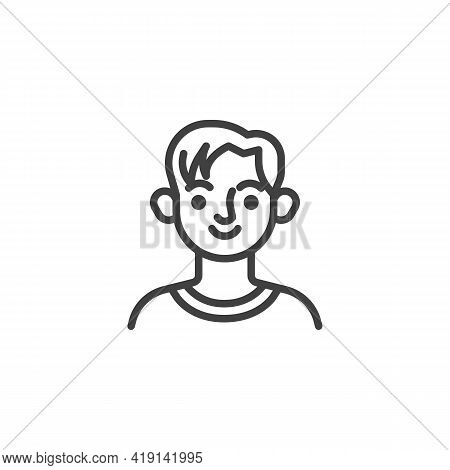 Young Man Hairstyle Line Icon. Linear Style Sign For Mobile Concept And Web Design. Young Boy Avatar