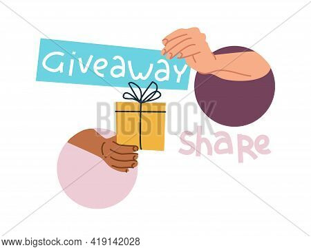 Giveaway Gift. Blogger Gives Presents To Subscribers And Winners Of Contests. Arms Hands Over Holida