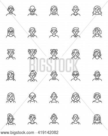 Young People Avatar Line Icons Set. Linear Style Symbols Collection, Outline Signs Pack. Man And Wom