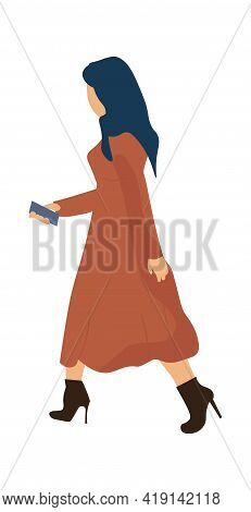 Trendy Woman Working Or Going To Work. Cartoon Modern Female Character In Fashionable Dress And High