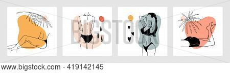 Trendy Woman Posters. Contemporary Minimalist Naked Female Characters. Girls Sunbathing At Tropical