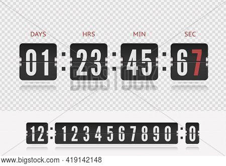 Analog Airport Board Countdown Timer With Hour Or Minute. Vector Vintage Flip Clock Time Counter. Sc