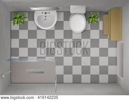 Bathroom Interior Top View, Room With Shower With Glass Wall, Toilet Bowl, Ceramic Sink With Mirror,
