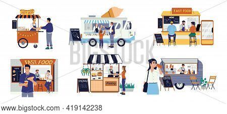 Street Food Cart. Small Family Business. Hot Dog Kiosk And Pastry Shop. Customers Buy Ice Cream Or C