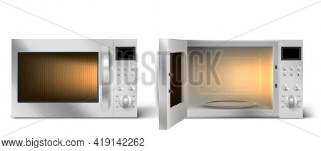 Modern Microwave Oven With Open And Closed Door And Lit Lamp Inside. Kitchen Electric Appliance For