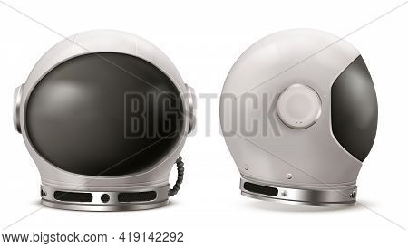 Astronaut Helmet With Black Glass In Front And Side View. Cosmonaut Mask For Space Exploration And F
