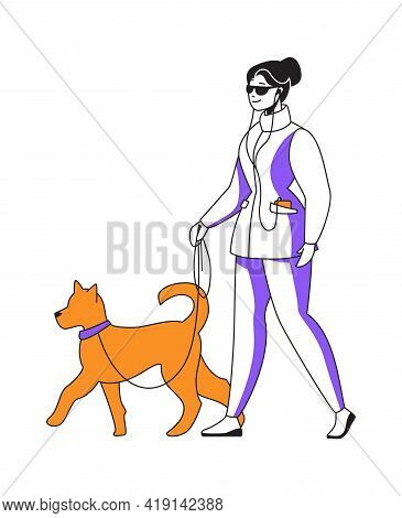 Woman Walking Dog And Listening To Podcast. Happy Female Goes With Puppy On Leash. Cartoon Cute Girl
