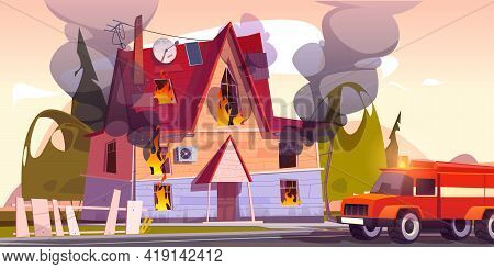 Fire Truck At Burning House, Suburban Cottage In Flame With Long Tongues. Dangerous Accident At Home