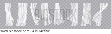 Window Curtains. Realistic Flowing Cloth With Wind Breeze Effect. Interior Decorative Elements. Eleg