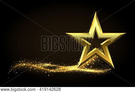 Golden Star. Realistic Metal Figure With Glowing Gold Dust Tail. Shining Stardust. Glittering Partic