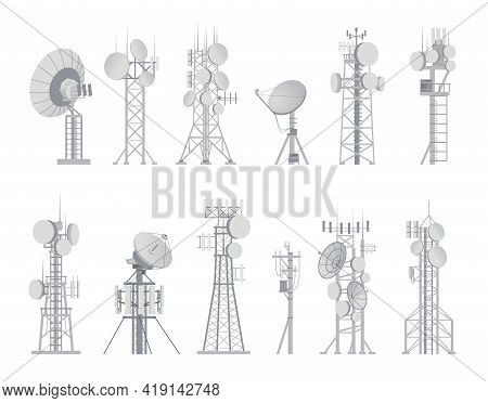 Wireless Antenna. Analog Aerial Communication Receiver. Connection And Broadcast Constructions Set.